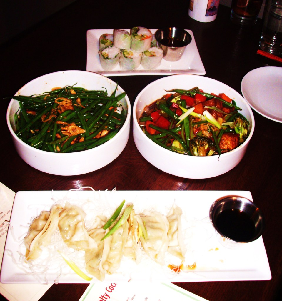 Vegetable Summer Rolls, Kung Pao Green Beans, Lemongrass Vegetable-Tofu Stir Fry, Vegetable Gyoza Pot Stickers
